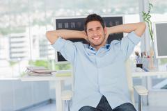 Cheerful creative business employee resting Stock Photos