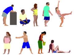 Stock Illustration of beach people 2