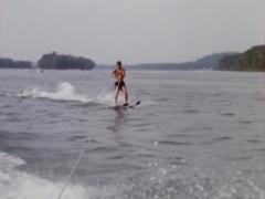 Man Water Skiing  16mm  part 2 Stock Footage