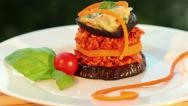Stock Video Footage of Vegan moussaka - tofu cheese, eggplant, sweet potato, tomato - dolly shot