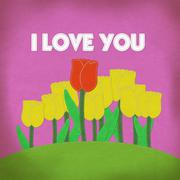 tulip on green grass field with stitch style fabric background - stock illustration
