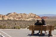 Stock Photo of looking on at the valley in red rock canyon nv.