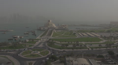 Timelapse Museum of Islamic Art and traffic car in Doha, Qatar Stock Footage