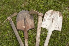 Used farm implements - stock photo