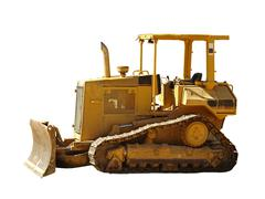 isolated bulldozer - stock photo
