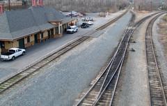 model train station - stock photo