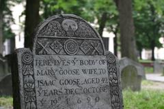 1690 Tombstone on the Freedom Trail in Boston - stock photo