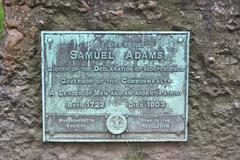 Samuel Adams Tombstone Close-Up Freedom Trail in Boston - stock photo