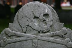 Skull and Crossbones on Tombstone Freedom Trail Boston - stock photo