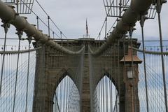 Brooklyn Bridge Looking Up - stock photo