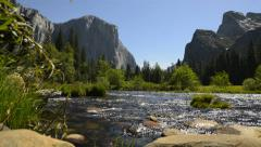Yosemite LM11 Valley View Circualr Dolly Back R Merced River Bridalveil Fall Stock Footage