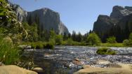 Stock Video Footage of Yosemite LM11 Valley View Circualr Dolly Back R Merced River Bridalveil Fall