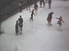 Rockefeller Center  Ice Skating  circa 1940's - stock footage