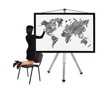 Woman drawing world map Stock Photos