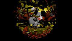 Uganda flag sphere converging animation Stock Footage
