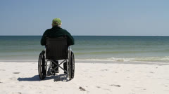 Man Wheelchair Beach Stock Footage