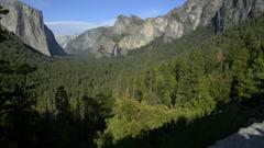 Yosemite LM15 Dolly CIrcular L Tunnel View Bridalveil Fall El Capitan Stock Footage