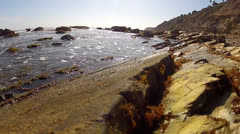 Small Waves In Tidal Pool Lap Against Rocky Shore- San Pedro CA Stock Footage
