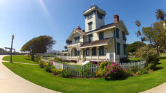 Point Fermin Historic Lighthouse- Point Fermin Park- San Pedro CA Stock Footage