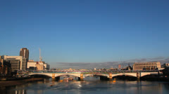 City of London skyline at morning. London, UK. Buildings and Thames River. 13 Stock Footage