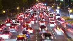 Traffic in the city. Avenue Time-Lapse, Night - Crane up - stock footage