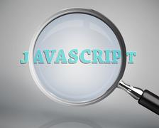 Magnifying glass showing javascript word - stock photo