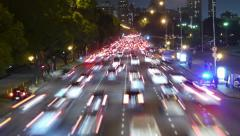 Traffic in the city. Avenue Time-Lapse, Night - Dolly out. Stock Footage
