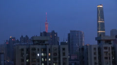 Fast motion of Aerial view of Guangzhou in twilight, China Stock Footage