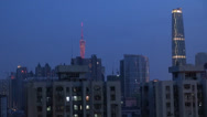 Stock Video Footage of Fast motion of Aerial view of Guangzhou in twilight, China
