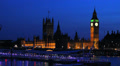 Big Ben, House of Parliament and Westminster Bridge. London at dusk. England. 8 Footage
