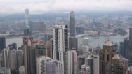 Fast motion of Aerial view of Hong Kong by day, China Stock Footage