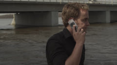 Man can't get cell reception Stock Footage