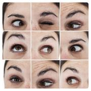 Collage of various pictures showing the eyes of a woman - stock photo