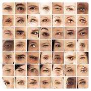 Collage of different pictures of various eyes - stock photo