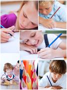 Collage of children coloring Stock Photos
