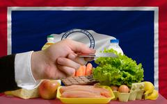 buying groceries with credit card in us state of wyoming - stock photo