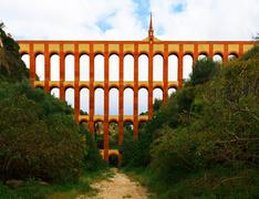 Aqueduct named el puente del aguila in nerja, andalusia, spain Stock Photos