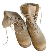 Army uniform shoes isolated Stock Photos