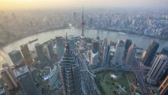 4K: Aerial View of Shanghai China, Day to Night(timelapse) Stock Footage