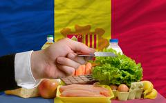 buying groceries with credit card in andorra - stock photo