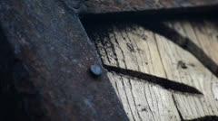 Old wood carvings metal strap Stock Footage