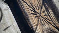 Old wood carvings tracking Stock Footage