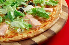 Pizza atlantic salmon Stock Photos