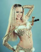 Girl in belly dance dress Stock Photos