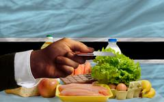 buying groceries with credit card in botswana - stock photo