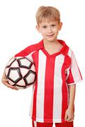 Boy hold soccer ball on white background Stock Photos