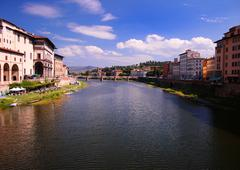 Cityscape of florence and river arno, italy Stock Photos