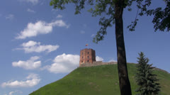 Historical Gediminas castle tower in Vilnius, Lithuania Stock Footage