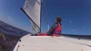 Stock Video Footage of dinghy sailing