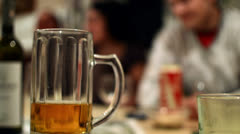 Beer mug at party Stock Footage